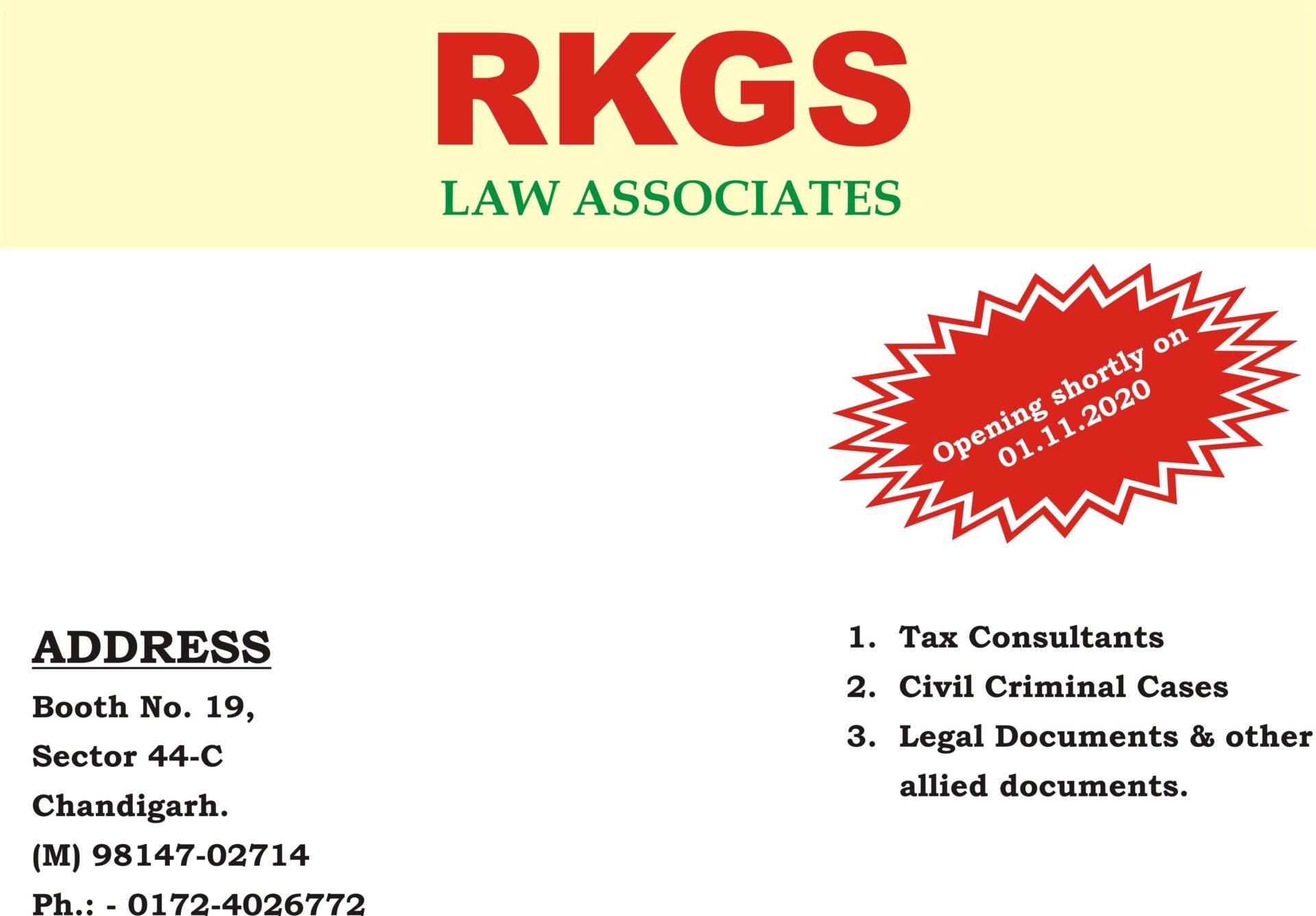 NEW BRANCH OF RKGS LAW ASSOCIATES – OPENING SOON